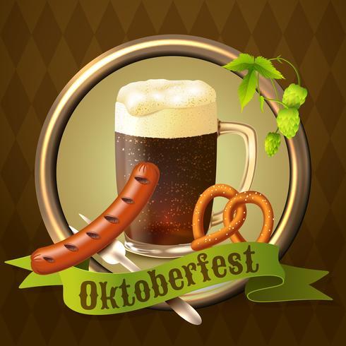 Cartel de Octoberfest de las tazas de cerveza vector