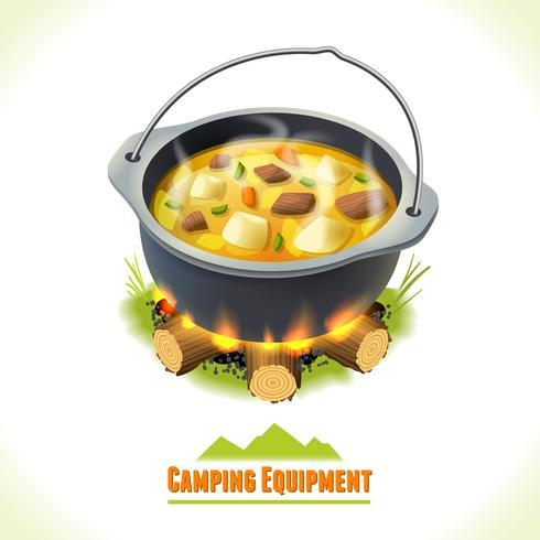 Pote de comida de símbolo de campismo vetor