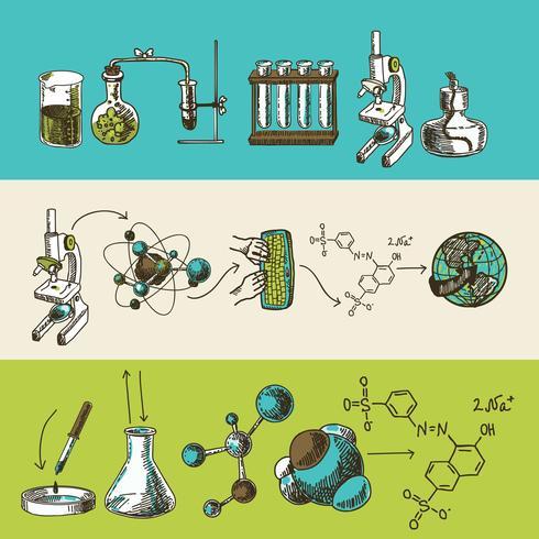 Conjunto de bandeiras de esboço de pesquisa química vetor