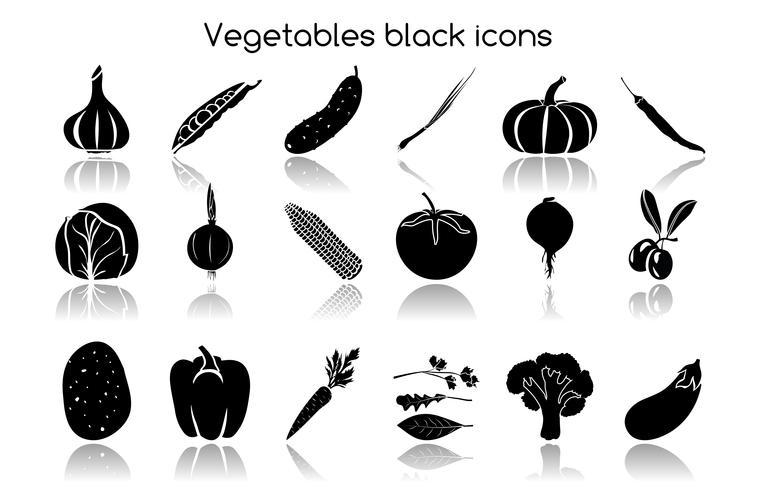Ícones pretos de legumes