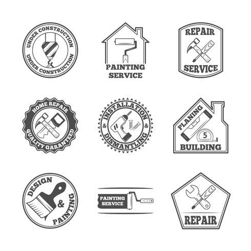 Home reparatie tools labels pictogrammen