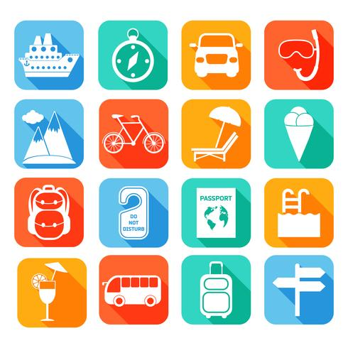 Travel Flat Icons Set vector