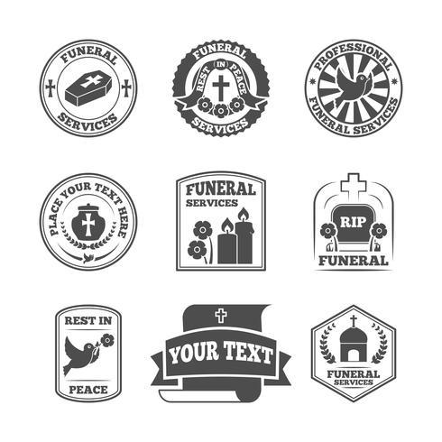 Conjunto de ícones de etiquetas fúnebres vetor