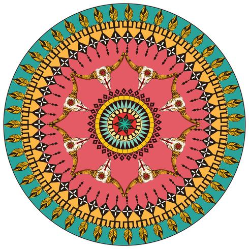 Tribal round ornamental background vector