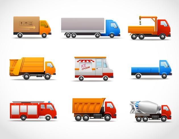 Iconos de camiones realistas vector