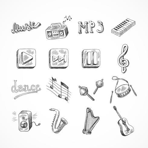 Conjunto de iconos de la música vector