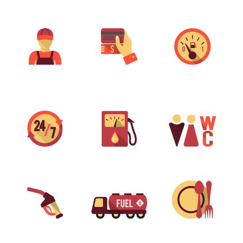 Set di icone pompa carburante