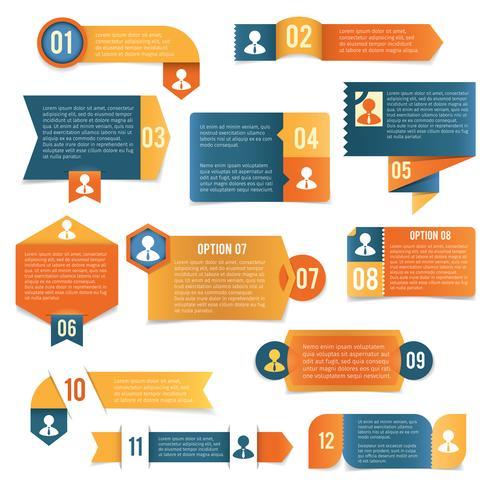 Rótulos de infográficos de papel vetor