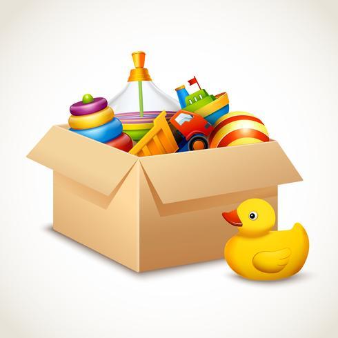 Brinquedos em caixa vetor