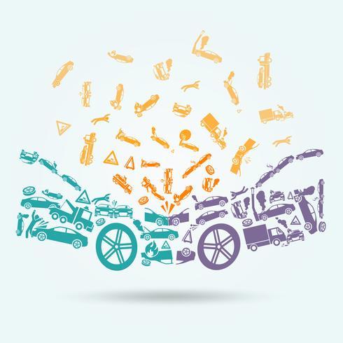 Concepto de iconos de accidente de coche vector