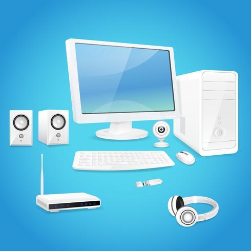 Computador e acessórios vetor