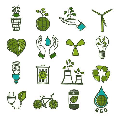 Ecologia e resíduos ícones definir cor vetor