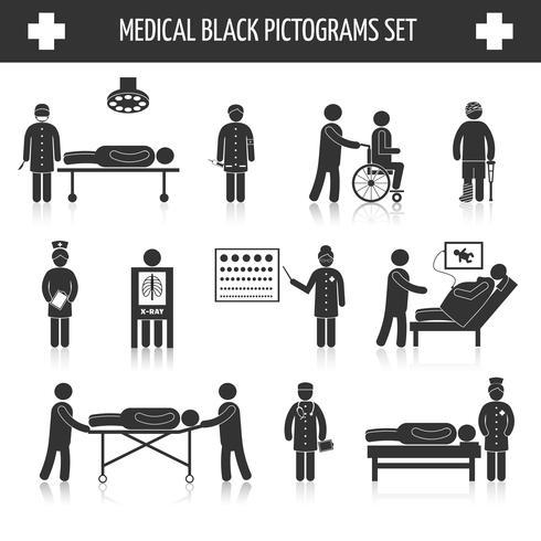 Conjunto de pictogramas negro médico