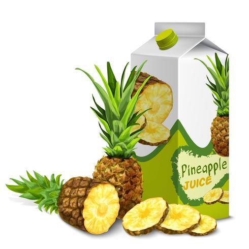 Juice pack pineapple vector
