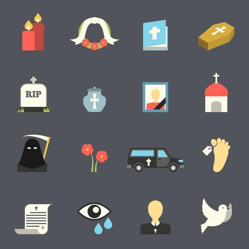 ensemble d'icônes funéraires