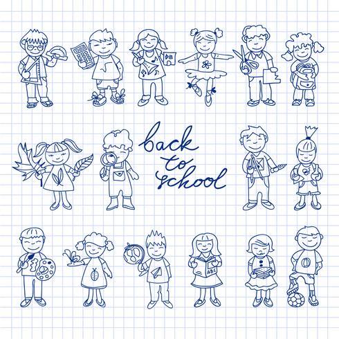 Set van doodle kinderen van karton