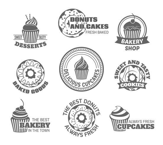 Donut cupcake label vector