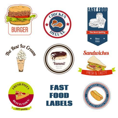 Conjunto de rótulos de fast-food vetor
