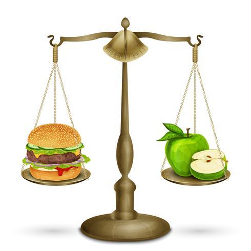 Hamburger et pomme sur des écailles vecteur