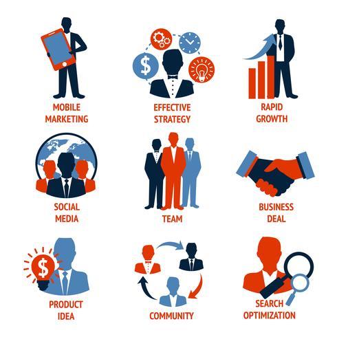 Conjunto de iconos de negocios y gestión vector