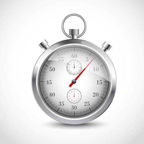 Realistic metallic stopwatch vector
