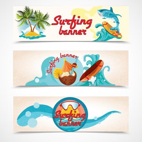 Conjunto de bandeiras de surf vetor