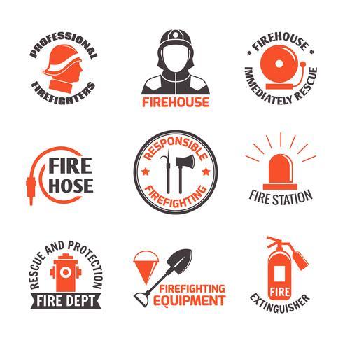 Set di etichette antincendio vettore