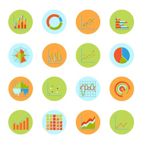 Business diagram ikoner platt vektor