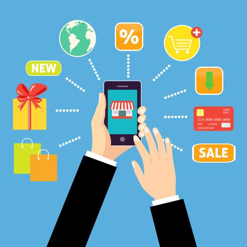 Conceito de compras on-line vetor