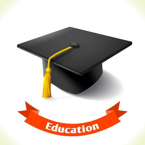 Chapéu de formatura de ícone de educação vetor