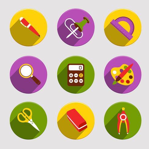 Conjunto de ícones de escola plana vetor