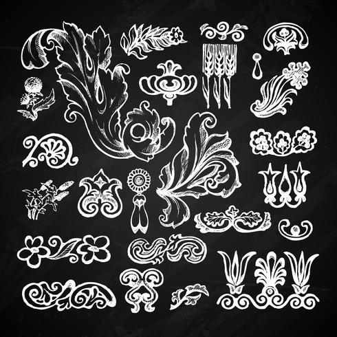 Conjunto de lousa floral vetor