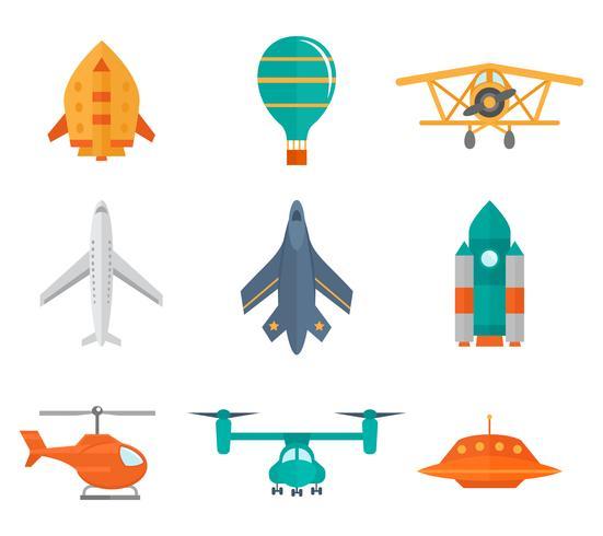 Iconos de aviones planos vector