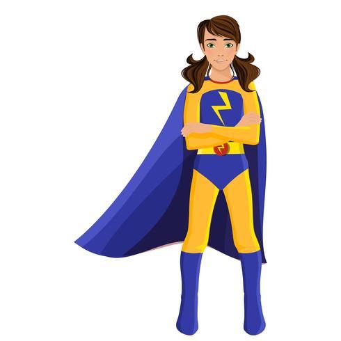 Chica en traje de superhéroe vector