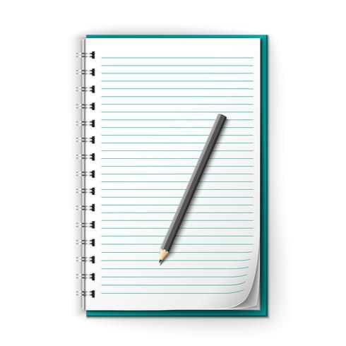 Foderad anteckningsblock och penna vektor
