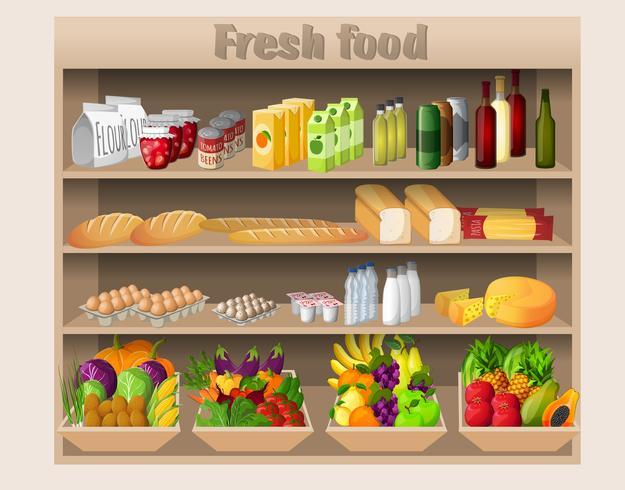 Supermercado, estanterías, comida y bebidas.