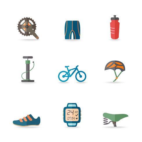 Ícones de bicicletas planas vetor