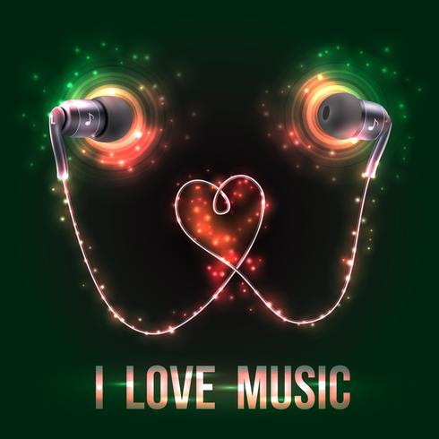 Fones de ouvido com letras de música