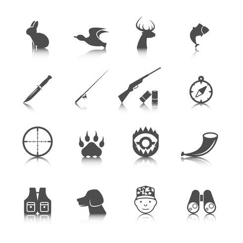 Conjunto de iconos de caza vector