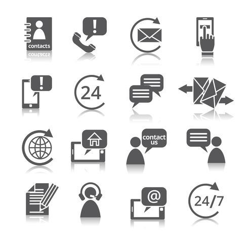 Kontakta oss service ikoner vektor