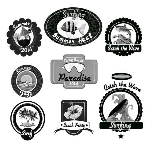 Surfen emblemen zwart