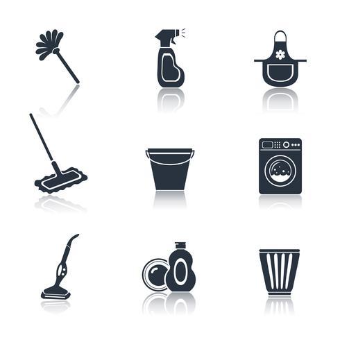 Conjunto de ícones de limpeza preto