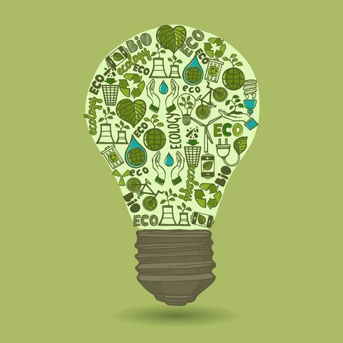 Lâmpada com ícones de ecologia e resíduos de esboço