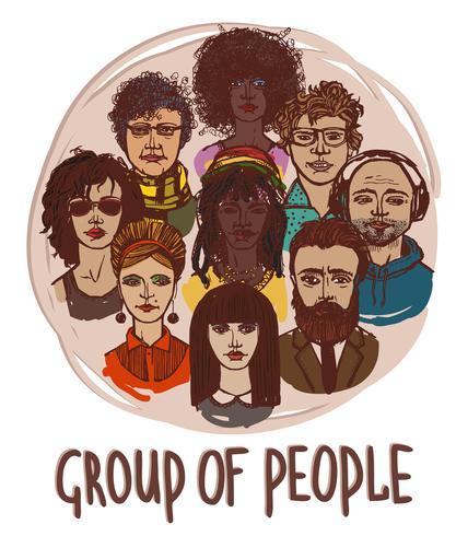 Skissgrupp människor
