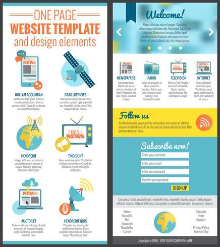 Modèle de site Web à une page vecteur