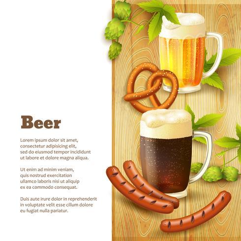 Bier en snacks grens vector