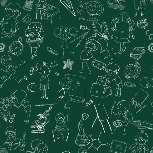 Escuela niños doodle sketch inconsútil vector