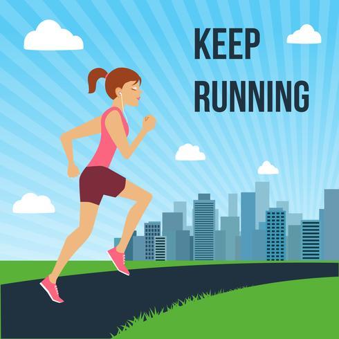 Running kvinna affisch