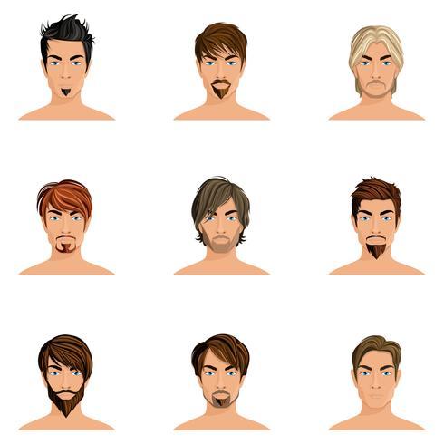 Ensemble de cheveux homme vecteur