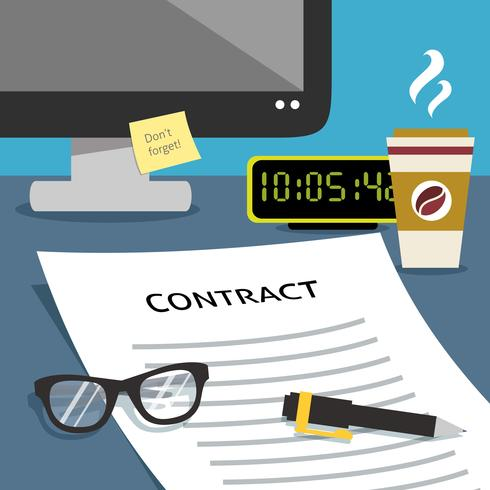 Contract on office desk vector